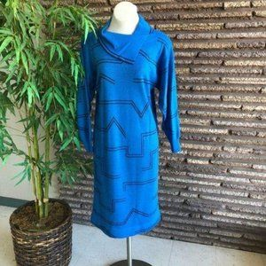 Vintage 70s French Le Gaillard Blue Sweater Dress